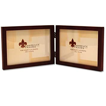 lawrence frames hinged double horizontal walnut wood picture frame gallery collection 5