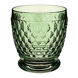 Green Old-Fashioned Crystal Glasses Set of 4