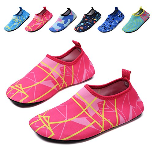 lewhosy Kids Boys and Girls Swim Water Shoes Quick Drying Barefoot Aqua Socks Shoes for Beach Pool Surfing Yoga(36/Pink) by lewhosy