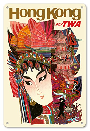 - Pacifica Island Art 8in x 12in Vintage Tin Sign - Hong Kong - Fly TWA (Trans World Airlines) by David Klein