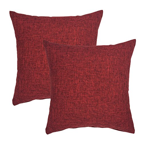 YOUR SMILE Solid Color Cotton Linen Decorative Throw Pillow Case Cushion Cover Pillowcase for Couch Sofa Bed,18 X 18 Inches (Burgungy,Set of 2)