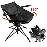 Zenree Collapsible Camping and Sports Hunting Chairs - Comfortable Folding Tufted Swivel Chair with Black Microfiber Padded Seat and Armrest, Black