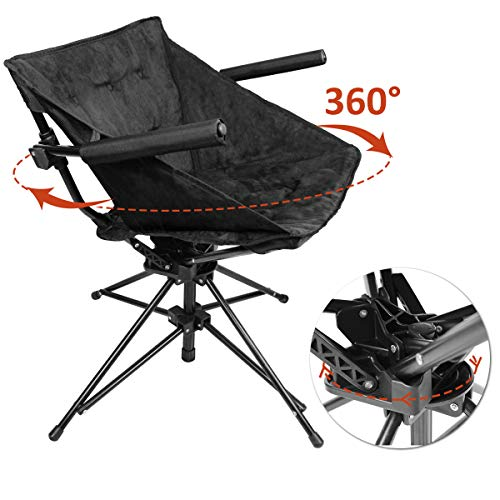 Zenree Folding Camping Hunting Chairs Outdoor, Portable Blind Swivel Chair, Comfortable Compact Fishing Sports Seat, with Black Microfiber Padded Seat and Armrest
