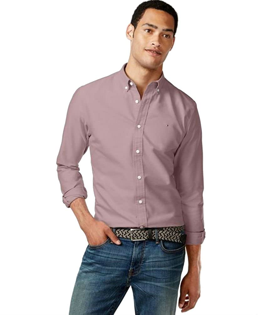 ef049283 Tommy Hilfiger Men's New England Solid Long-Sleeve Custom-Fit Oxford Shirt,  Rio Red, XXL: Amazon.in: Clothing & Accessories