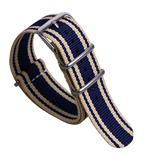22mm Beige/Dark Blue Super Soft Preppy Look Men's NATO Style Nylon Canvas Watch Bands Straps Replacement by autulet