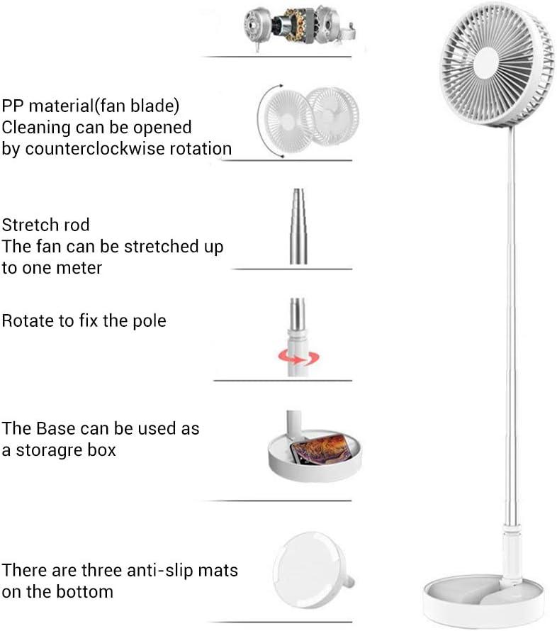 zuoshini Tischventilator Tragbarer Ventilator Tischventilator mit Fernbedienung L/üfter Teleskop Klappboden Multifunktion 7200 Mah Lade Desktop USB Luftk/ühler