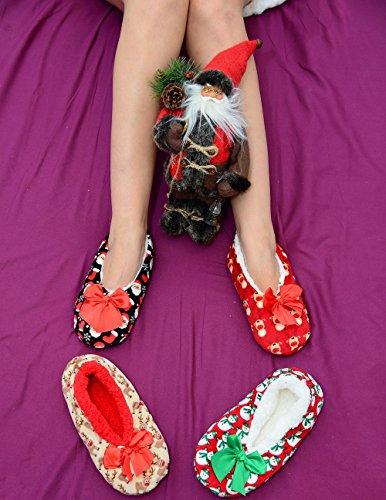 Women Ladies Co-zees Christmas 3 Design Print Pattern Sherpa Fleece Lined Ballerina Slippers Socks UK 4-7 Xmas-beige Reindeer wDpi1