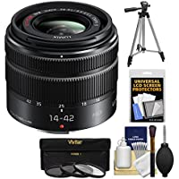 Panasonic Lumix G Vario 14-42mm f/3.5-5.6 II ASPH OIS Zoom Lens with Tripod + 3 Filters + Kit for G6, G7, GF7, GH3, GH4, GM1, GM5, GX7, GX8 Cameras