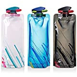 Foldable Water Bottle Set of 3, MAXIN Flexible Collapsible Reusable Water Bottles for Hiking,Adventures, Traveling, 700ML..