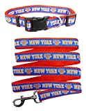 New York Knicks Nylon Collar for Pets and Matching Leash (NBA Official by Pets First) Size Large