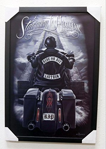 - DGA Ride or Die Motorcycle Day of The Dead 3D Canvas Framed Wall Art 14x20 Inches - Stairway to Heaven