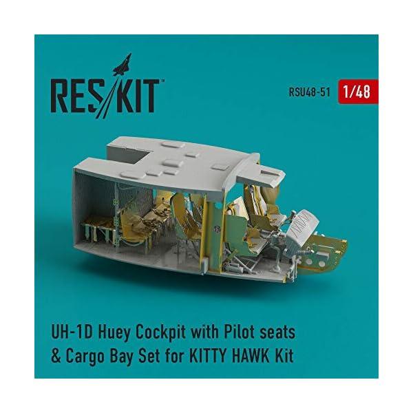 Reskit RSU48-0051 - 1/48 UH-1D Huey Cockpit with Pilot Seats & Cargo Bay Set for Kitty Hawk Kit Resin Detail 1