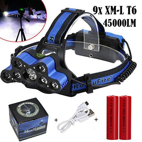 PENATE 6 Modes Super Bright Headlamp 45000LM 9 x XM-L T6 LED 18650 USB Rechargeable Waterproof Zoomable Light Comfortable Flashlight Head Light Torch + Batteries + - Lycra O-ring