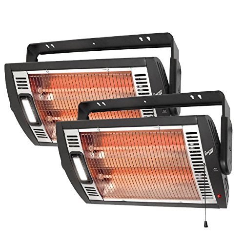 Comfort Zone CZQTV5M Ceiling Mount Quartz Heater,Black, 1500 Watts 2 Pack