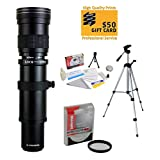 Opteka 420-1600mm f8.3 Telephoto Lens with UV Filter and Tripod for Nikon D4s, D4, D3x, Df, D810, D800, D750, D610, D600, D7200, D7100, D5500, D5300, D5200, D5100, D3300 and D3200 Digital SLR Cameras