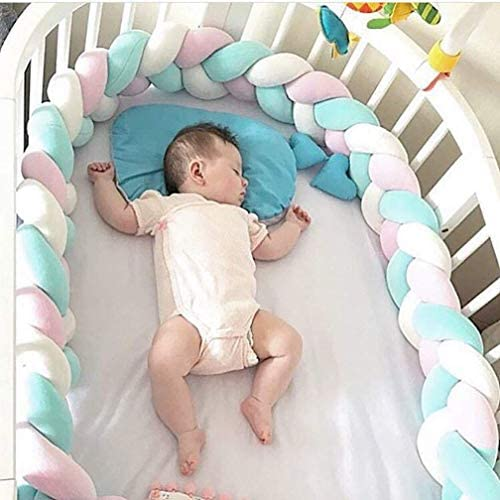 Baby Bumper Queta Bed Snake Cot Bumper Weaving Edge Protection Head Protector Decoration for Crib Cot 200 cm Gray + Pink + Green