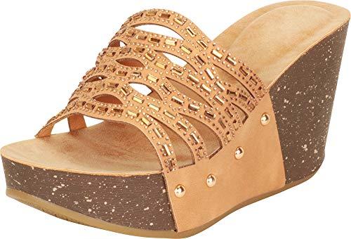Cambridge Select Women's Open Toe Laser Cutout Crystal Rhinestone Studded Platform Wedge Slide Sandal,10 B(M) US,Cognac NBPU (Studded Crystal Sandal)