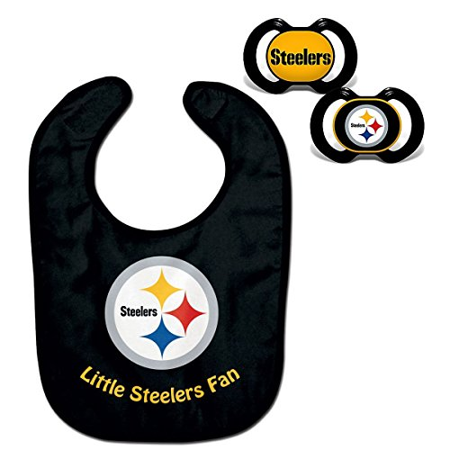 (Official NFL Fan Shop Authentic Baby Pacifier and Bib Bundle Set. Start Out Early in Joining The Fan Club and Show Support for Your Favorite Football Team (Pittsburgh Steelers))