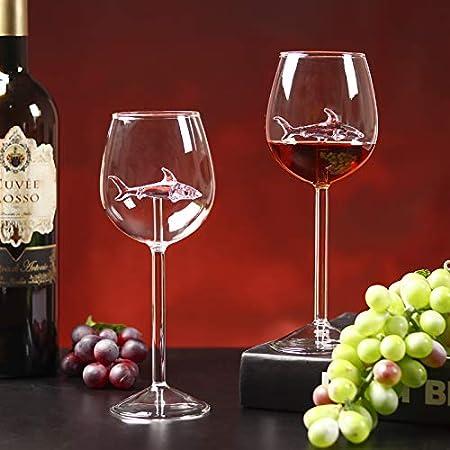 BSSN Juego de 2 copas de vino tinto creativas con tiburón rosa en el interior, vasos transparentes sin plomo para regalo, aniversario de boda, fiesta de cumpleaños
