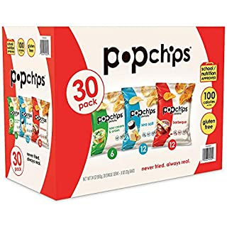 Popchips Potato Chips 3 Flavor Variety Pack Single Serve 0.8 oz Bags