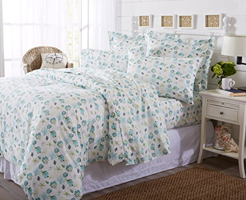 Great Bay Home Duvet Cover 3-Piece Set with Button Closure. Luxuriously Soft 100% Brushed Microfiber with Printed Coastal Pattern and Corner Ties. Antigua Collection Brand. (Full/Queen, Seaside) Bay Duvet Cover Set