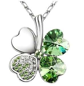 Tej - Collar dije trébol cuatro hojas cristal corazón amor cadena 16 - 18 pulgadas 80002, color verde