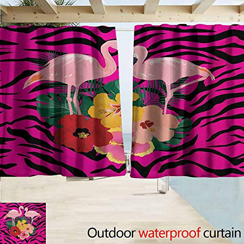(AndyTours Outdoor Patio Curtains,Pink Zebra Exotic Love Pink Flamingos on Hibiscus Bouquet Striped Background Boho Graphic,Room Darkening, Noise Reducing,W72x63L Inches,Multicolor)