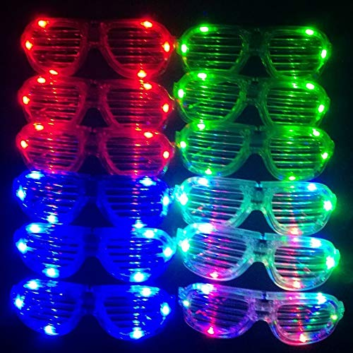 M.best Unisex Flashing Plastic Glow LED Light Up Shades Show Toy Glasses Party Favors Supplies Set of 12 ()