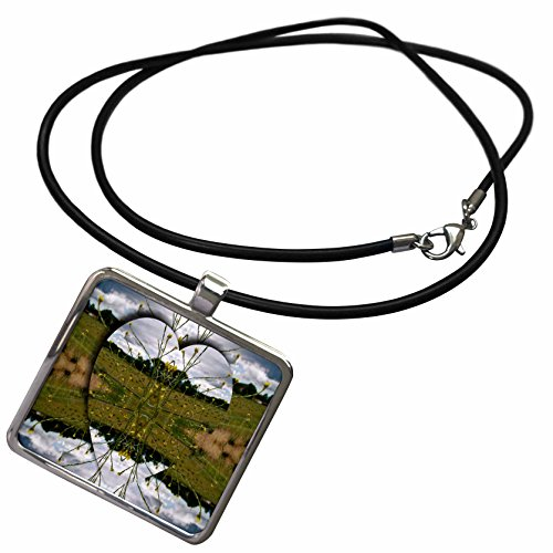 - 3dRose Jos Fauxtographee Abstract - Heart Popping Field of Yellow Flowers - Necklace With Rectangle Pendant (ncl_33627_1)