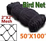 Bird Netting to Protect Fruit Trees, Bushes & Vegetables from Hungry Birds, 25x25,25 X 50,50x100 Garden Netting Protects Gardens from Chickens & Poultry (2 mesh-50x100)