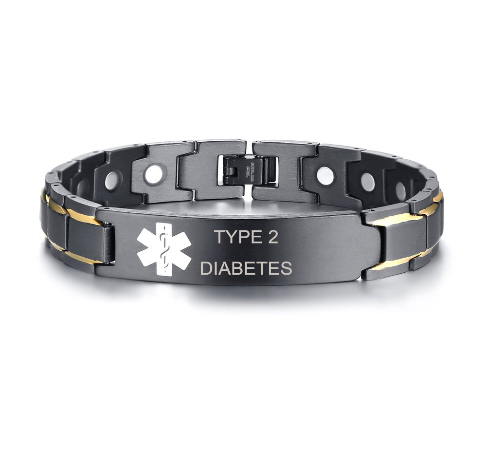 XUANPAI Type 2 Diabetes Stainless Steel Magnet Therapy Medical Alert ID Bracelet for Men Women,Adjustable