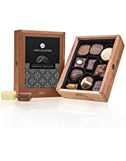 Elegance - 10 luxe pralines - Zonder alcohol | Premium kwaliteit in een stijlvol houten kistje | Geschenkidee | Cadeau | Mannen | Vrouwen | Handgemaakt