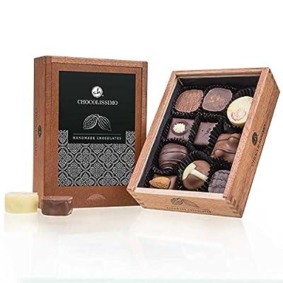 Elegance – ohne Alkohol – 10 Luxus Pralinen | Premium Qualität in edler Holz-Box | Holzkästchen | Schokolade…