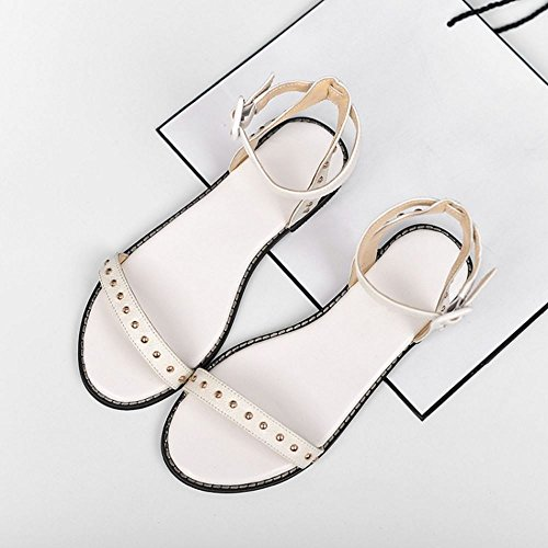 COOLCEPT Mujer Moda Correa de Tobillo Sandalias Punta Abierta Plano Slingback Zapatos Blanco