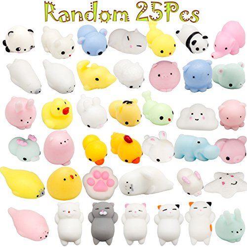 BeYumi Mochi Squishy Animal Toys, Random 25 Pcs Kawaii Cute