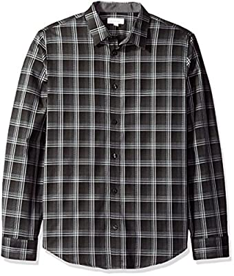 Calvin Klein Men's Long Sleeve Large Scale Herringbone Plaid Button Down Shirt