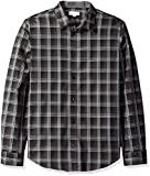 Image of Calvin Klein Men's Long Sleeve Scale Herringbone Plaid Button Down Shirt, Black, X-Large