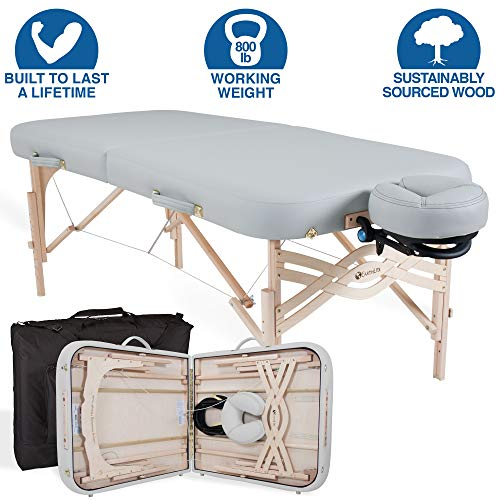 EARTHLITE Premium Portable Massage Table Package SPIRIT – Spa-Level Comfort, Deluxe Cushioning incl. Flex-Rest Face Cradle & Strata Face Pillow, Carry Case (30/32″ x 73″) – Made in USA, Sterling