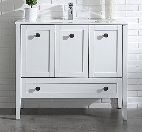 PHASAT Bathroom Vanity with White Marble Top,Single Sink ...