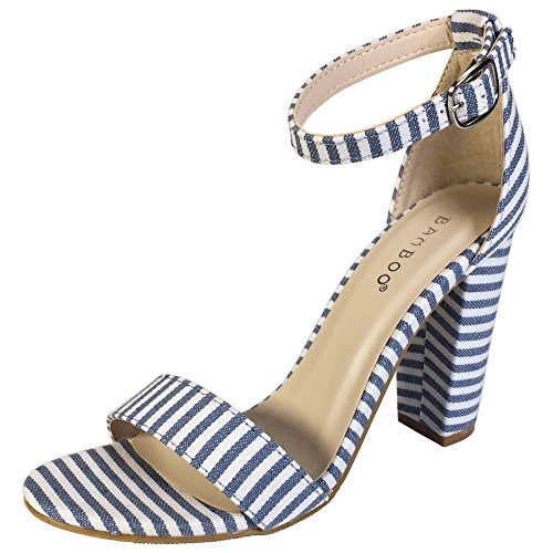 BAMBOO Women's Single Band Chunky Heel Sandal with Ankle Strap, Blue White Stripe Fabric, 7.0 B US