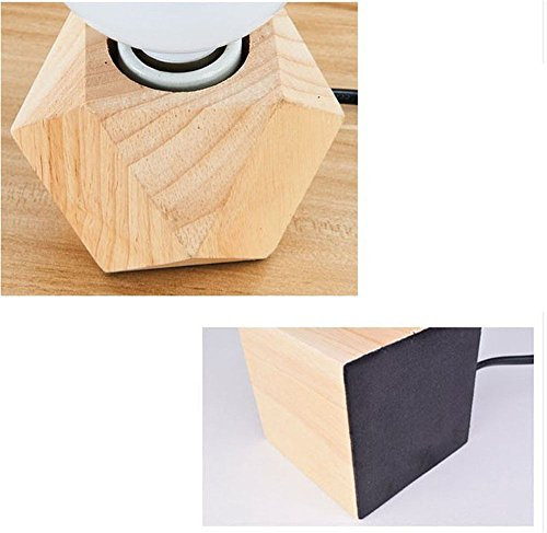 Wall Lamps,Creative Diamond Nordic Table lamp Retro Decoration Study Living Room Bedroom Warm Bedside lamp Solid Wood Small Table lamp Bracket Light by ExpensiveLight (Image #2)