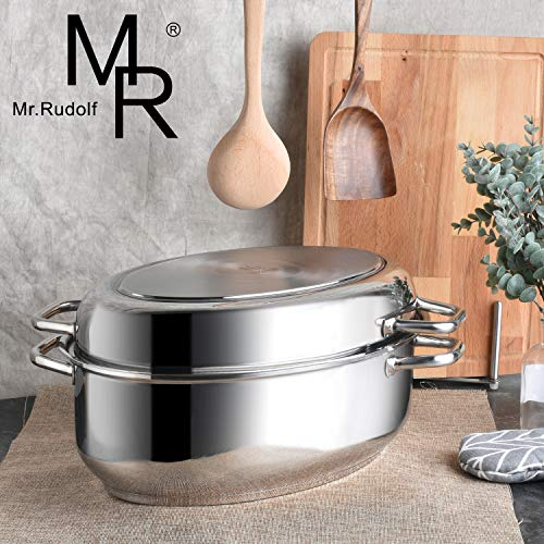 Mr Rudolf 18/10 Stainless Steel 17-inch Multi-Use Baking and Roasting Pan with Wire Rack and Lid Dishwasher Safe Oven Safe Oval Roasting Pan PFOA Free Maximum Capacity:12 Quart oval roaster+ 5 Quart (Best Stainless Steel Roasting Pan)
