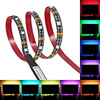 Bias Lighting, Relohas TV Backlight for 45~70 inches HDTV ,LED Strip Lights with FR Remote, RGB LED Strip Home Multi Color RGB LED TV Lighting for Flat Screen TV, PC, Neon Sign Decoration (3M)