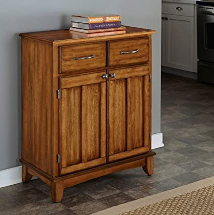 Cottage Oak Small Dining Room Buffet Cabinet With Wood Top