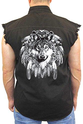 Men's Sleeveless Denim Shirt Indian Wolf Biker Vest: BLACK (XXL)