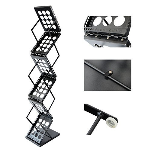 T-Sign Foldable Pop Up 6 Pockets Magazine Literature Brochure Catelog Holder Rack Stand With Portable Oxford Carrying Case For Office And Tradeshow Display