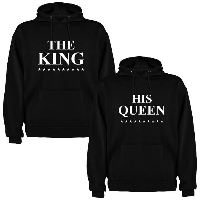 Pack de 2 Sudaderas Negras para Parejas, The King y His Queen, Blanco (