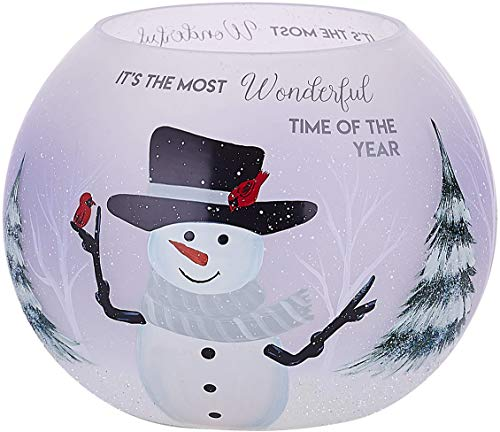 Tealight Holder Frosted Glass (Pavilion - Hand Painted Snowman Frosted Glass Round Tealight Candle Holder, 5 Inch)