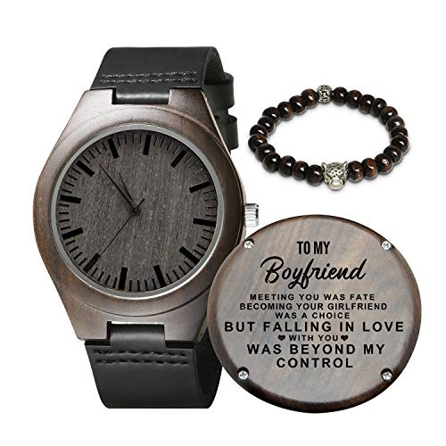 Engraved Wooden Watch for Men,Natural Wooden Watch for Boyfriend Husband Son Natural Ebony Customized Personalized Wood Watch Birthday Anniversary Gift (for Boyfriend)