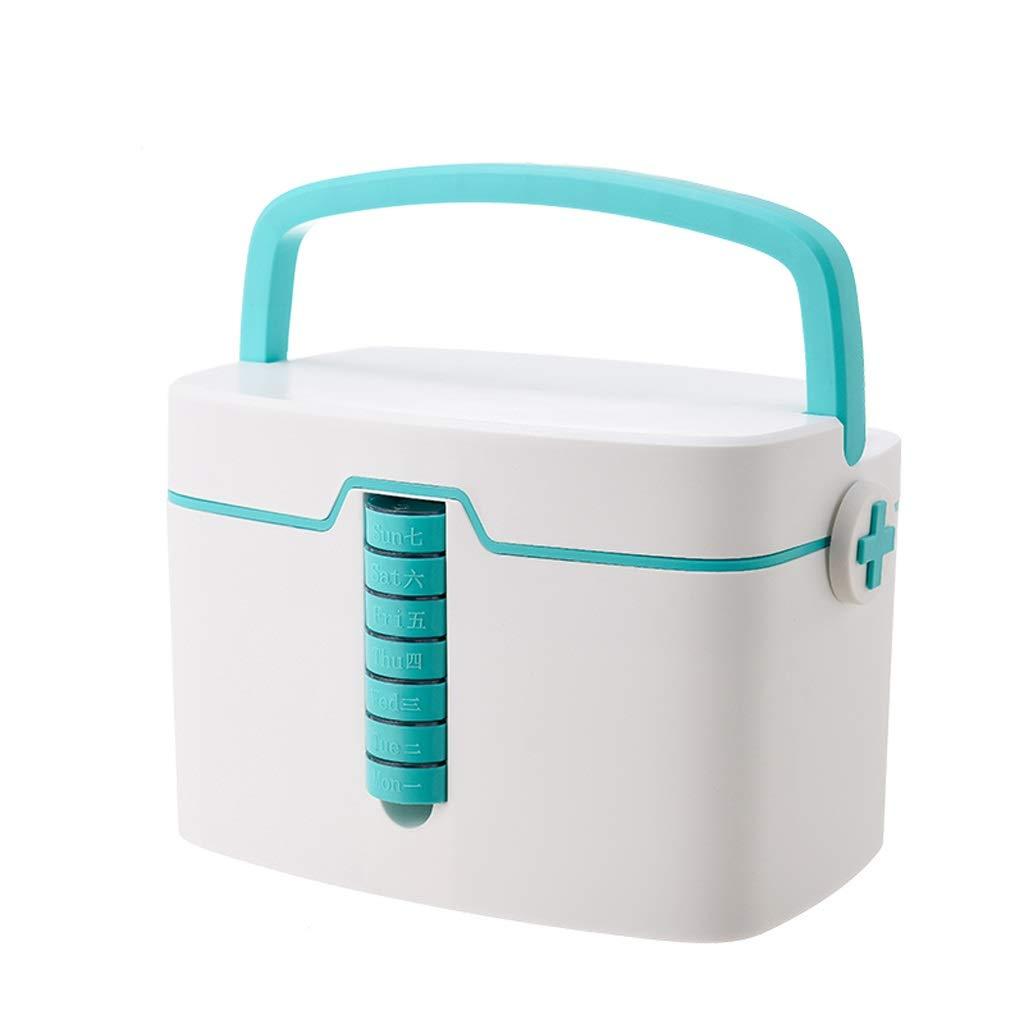応急処置キット医療ボックス、7日ピルボックス付き小さなピル収納キャビネット、医療タブレット週間収納ケース   B07RM6YSN5